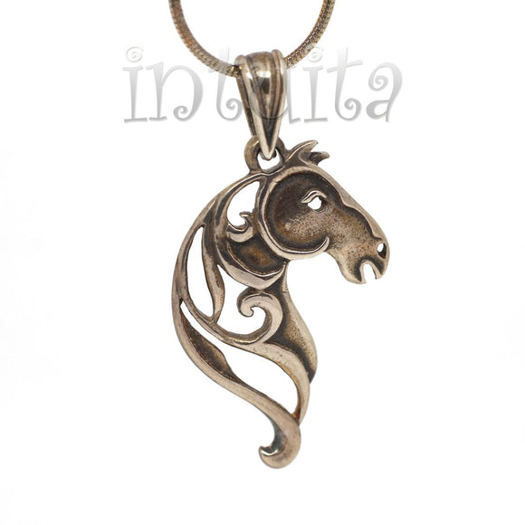 Filigree Lace Design Sterling Silver Horse Shape Pendant