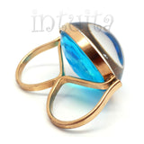 Adjustable Size Two Finger Blue Color Glass and Million Floating VS-1 Diamonds Ring