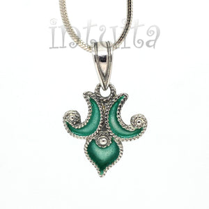 Brown And Blue Enamel Dangle Earrings With Fantasy Pattern