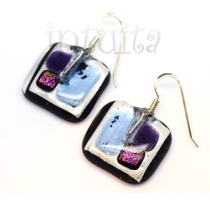 Purple Enamel On Copper Earrings With Dots