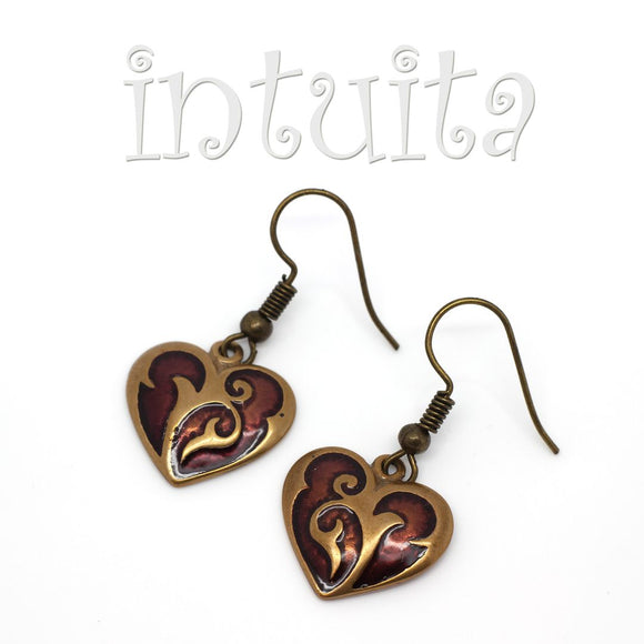 Chocolate Brown Heart Shape Bronze Earrings with Lace Pattern