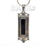 Purple Enamel Dangle Earrings With Orange Tendril Pattern