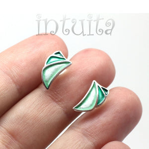 Rectangle Shape Juicy Orange Enamel Dangle Earrings With Tendril Pattern
