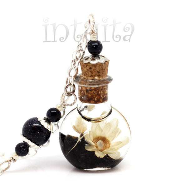 Black And White Love Potion Pendant with Real Dried Flowers Floating Inside