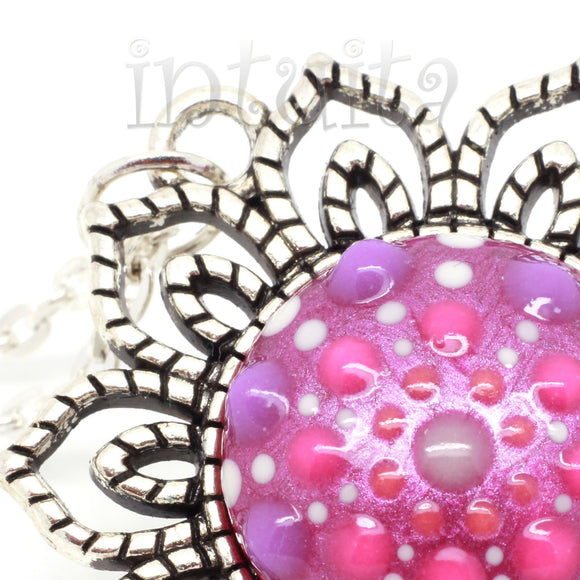 Glow-in-the-dark Dot Painted Mauve Pink Mandala Sunflower Pendant