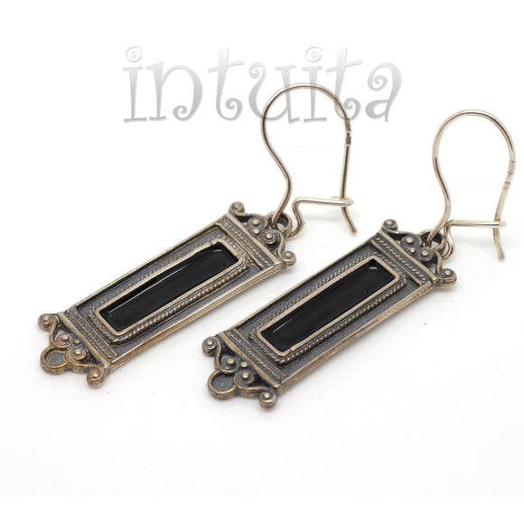 Eclectic Design Black Enamel and Sterling Silver Dangle Earrings