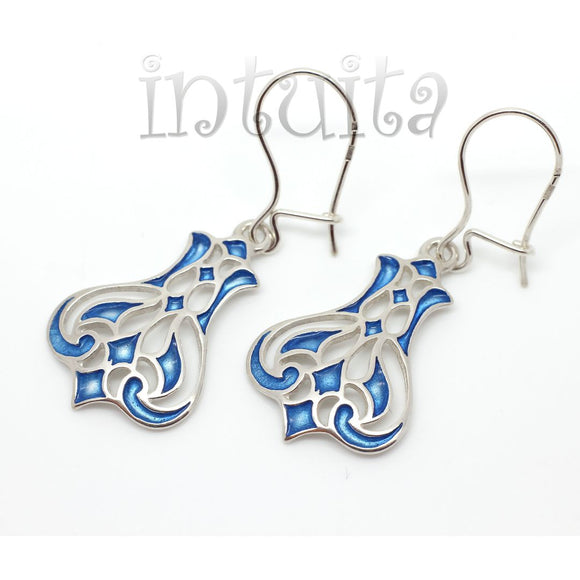 Blue Color Enamel and Delicate Lace Tulip Design Sterling Silver Dangle Earrings