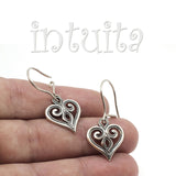 Delicate Lace Heart Design Sterling Silver Dangle Earrings