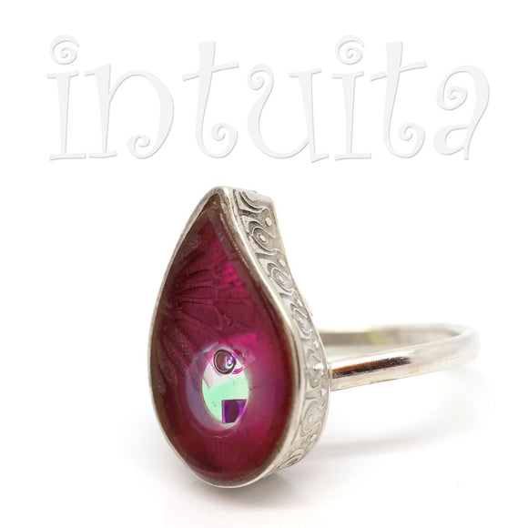 Adjustable Size Drop Shape Glass Ring With Floating Ruby