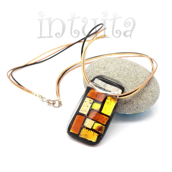 Long Brown And Ochre Yellow Mosaic Fused Glass Necklace