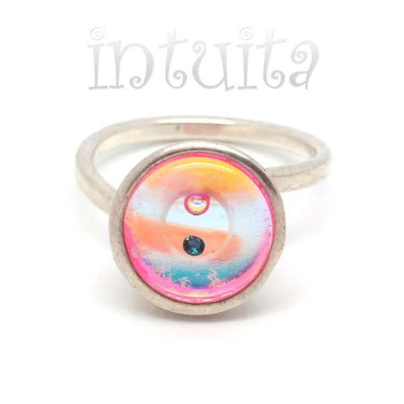 Adjustable Size Pink Glass Ring With Floating Gem