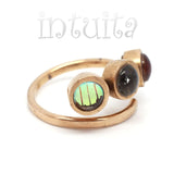 Adjustable Size Colorful Glass Triple Ring With Floating Diamonds