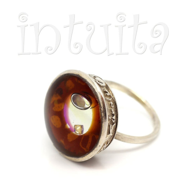 Adjustable Size Brown Glass Ring With Floating Diamond