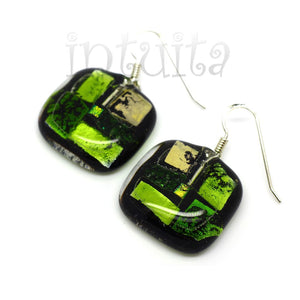 White And Forest Green Mosaic Fused Glass Earrings