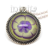 Purple And Light Green Handpainted Round Glass Necklace