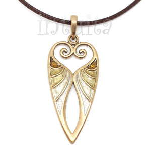 Beige Color Long Fantasy Style Bronze Necklace with Tendril Heart Design