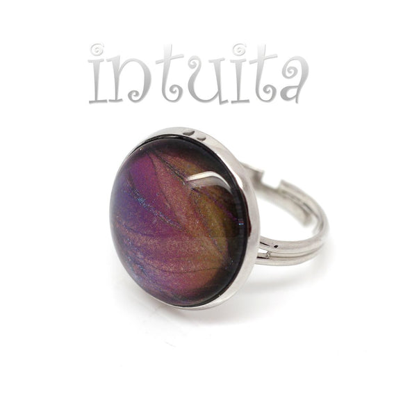 Holographic Purple Handpainted Round Glass Ring