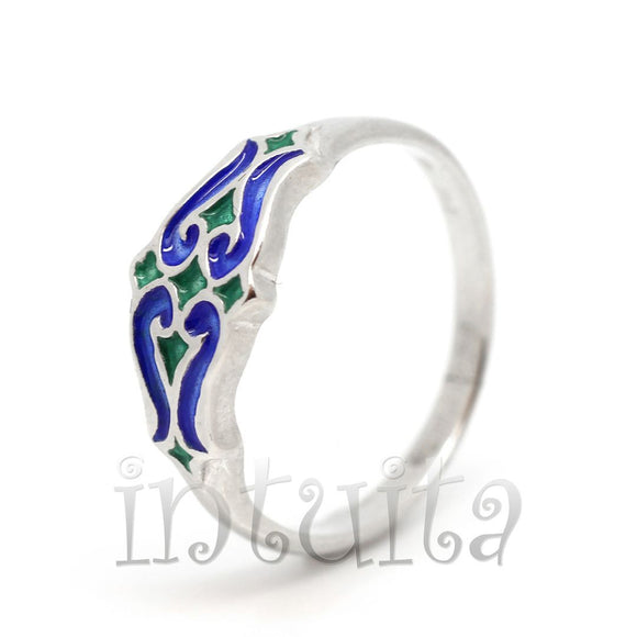 Filigree Design Blue and Green Enamel and Sterling Silver Double Heart Ring