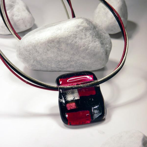Small Red Black And White Fused Glass Necklace with Dichroic