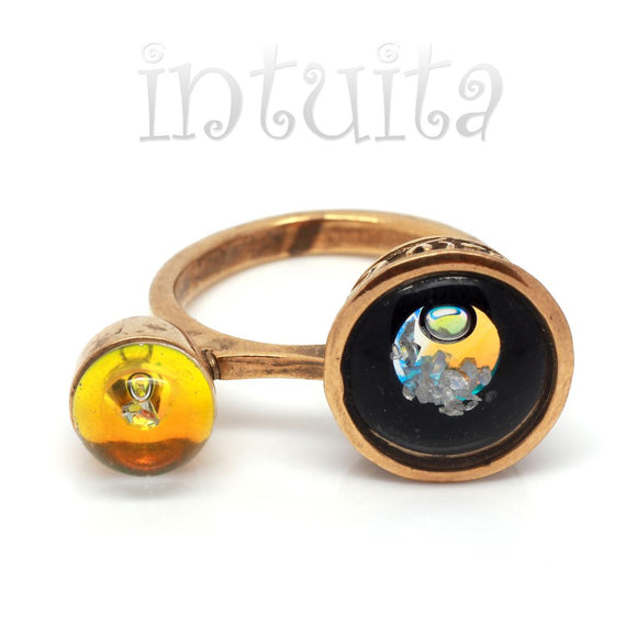 Adjustable Size Black And Gold Glass Ring With Floating Diamonds
