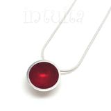 High Fashion Minimalist Style Round Fiery Red Plexiglas and Sterling Silver Necklace