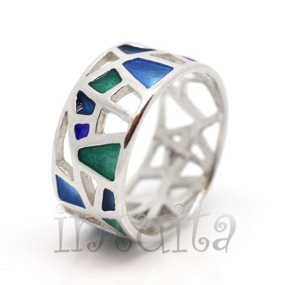 Filigree Lace Design Blue and Green Enamel and Sterling Silver Mosaic Ring