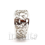 Filigree Lace Design Sterling Silver Ring With Reindeer Pattern