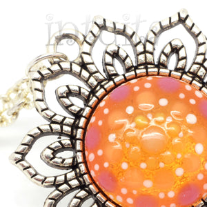 Glow-in-the-dark Dot Painted Orange Mandala Sunflower Pendant