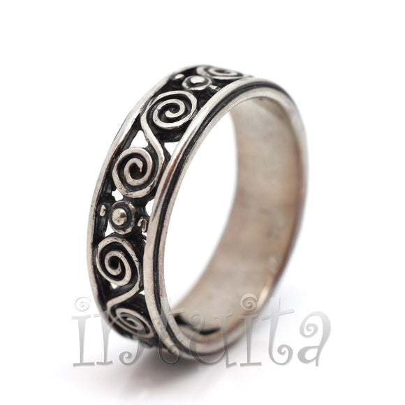 Filigree Design Coil Pattern Sterling Silver Ring