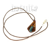 Kite Shape Brown And Blue Enamel Necklace With Double Tendril Pattern