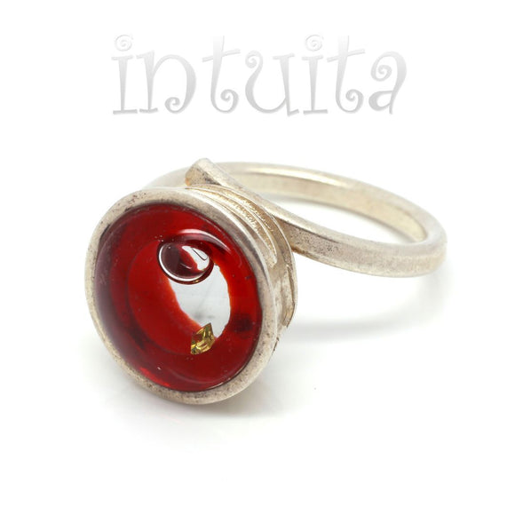 Adjustable Size Red Glass Ring With Floating Diamond