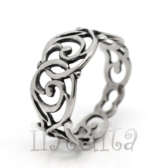 Filigree Lace Design Sterling Silver Art Nouveau Style Ring