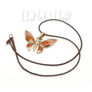 Filigree Fantasy Style Beige And Ochre Yellow Color Butterfly Shape Necklace