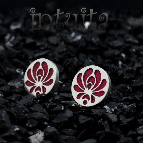 High Fashion Style Small Round Red Plexiglas and Sterling Silver Studs with Folk Art Motif