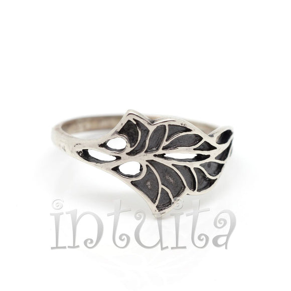 Filigree Design Sterling Silver Leaf Shape Ring