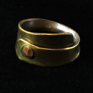 Fantasy Style Studded Brass Band Ring Forged By Hand, Size 58 (US 8 1/4)