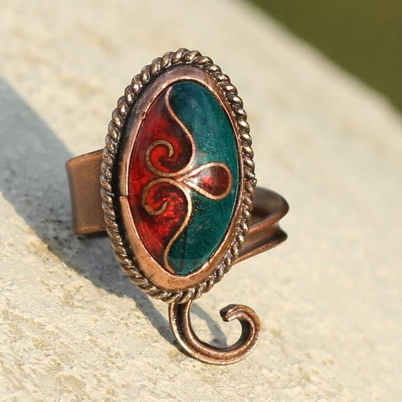 Copper & Brass Ring With Cloisonné Technique, Size 55-58 (US 7 1/4 - 8 1/4)