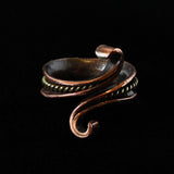 Brass Incased in Copper Ring with Tendrils, Size 50-54 (US 5 1/4 - 6 3/4)