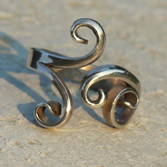 Tendril Design Sterling Silver Ring Forged by Hand, Size 53-56 (6 1/2 - 7 1/2)