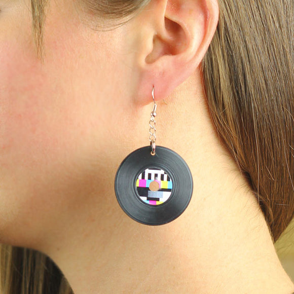 Vinyl Record Earrings with Tv Broadcast Break Signal