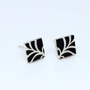High Fashion Style Black Plexiglas And Sterling Silver Stud Earrings