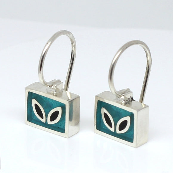 High Fashion Style Turquoise and Black Plexiglas and Sterling Silver Dangles