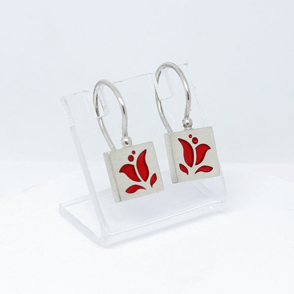 High Fashion Style Tulip Design Chili Red Plexiglas and Sterling Silver Earrings