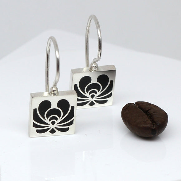 High Fashion Style Black Plexiglas and Sterling Silver Earrings with Folk Art Motif