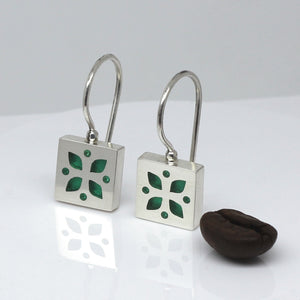 High Fashion Style Sea Green Plexiglas and Sterling Silver Four-Leaf Clover Earrings