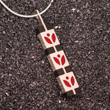 High Fashion Style Black Ebony and Red Stylized Motif Sterling Silver Necklace