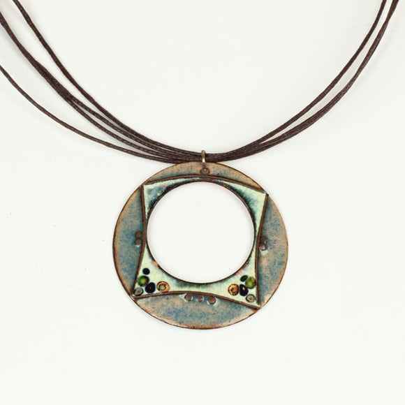 Pastel Blue and White Round Loop Enamel Necklace