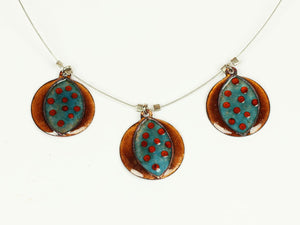 Aqua Blue and Caramel Color Enamel on Copper Triple Pendant