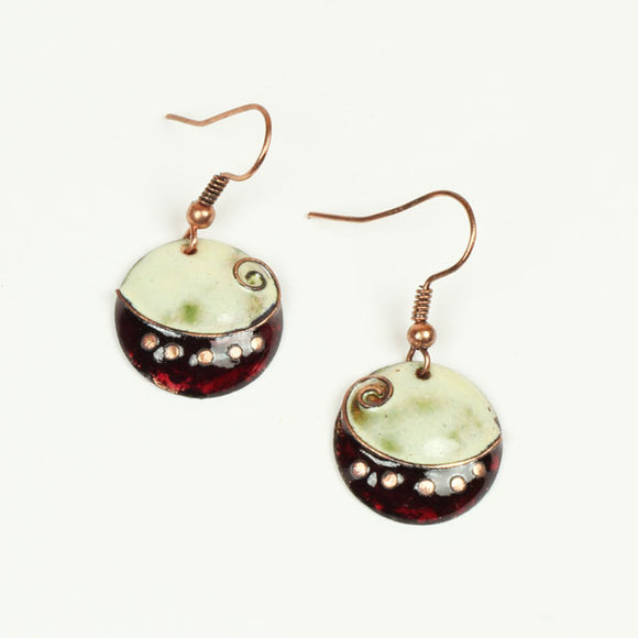 Small Dainty Burgundy and Cloudy White Enamel Earrings