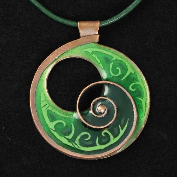 Large, Green Enamel Necklace With Tendril Copper Design